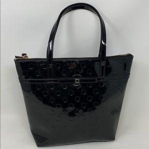 Kate Spade Black Patent Leather Polka Dot Tote